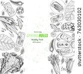 asian food menu design template.... | Shutterstock .eps vector #763030102