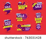 christmas and new year's sale.... | Shutterstock .eps vector #763031428