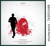 marathon runner with abstract... | Shutterstock .eps vector #763031488