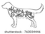 Stock vector hand drawn silhouette dog with the text inside isolated on white background vector monochrome 763034446