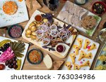food table top view. armenian... | Shutterstock . vector #763034986