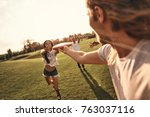 catch it  group of young people ... | Shutterstock . vector #763037116