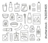 collection of doodle outline... | Shutterstock .eps vector #763039405