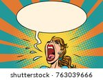 girl pop art screams in panic.... | Shutterstock .eps vector #763039666