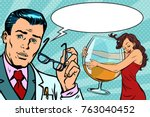 doctor and woman alcoholic.... | Shutterstock .eps vector #763040452