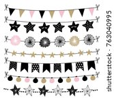 set of birthday  new year... | Shutterstock .eps vector #763040995