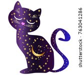 cat night. cat silhouettes... | Shutterstock .eps vector #763041286