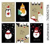 set of christmas greeting cards.... | Shutterstock .eps vector #763042756