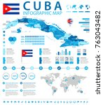 cuba infographic map and flag   ... | Shutterstock .eps vector #763043482