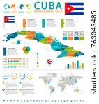 cuba infographic map and flag   ... | Shutterstock .eps vector #763043485