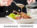 chef cooking restaurant food...   Shutterstock . vector #763046542