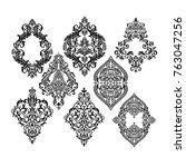 set of oriental vector damask... | Shutterstock .eps vector #763047256