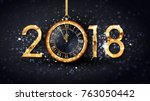 2018 new year greeting card of  ... | Shutterstock .eps vector #763050442