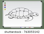 cartoon ocean turtle. hand... | Shutterstock .eps vector #763053142
