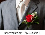 buttonhole with rose detail of... | Shutterstock . vector #763055458