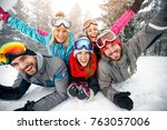group of skiers male and female ... | Shutterstock . vector #763057006