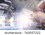 finance  banking concept. euro... | Shutterstock . vector #763057222