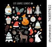 vector set of christmas... | Shutterstock .eps vector #763057822