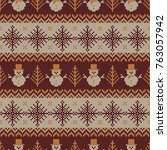 knitted seamless pattern with... | Shutterstock .eps vector #763057942