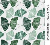 vector illustration ginkgo... | Shutterstock .eps vector #763057978