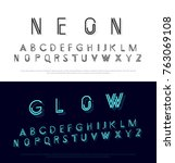 neon modern font and alphabet... | Shutterstock .eps vector #763069108