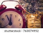 timer with christmas gifts  a... | Shutterstock . vector #763074952