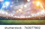 stadium in lights and flashes... | Shutterstock . vector #763077802