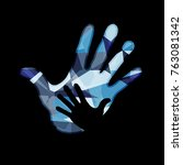 family. child and parents hands ... | Shutterstock .eps vector #763081342