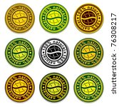 Natural products round classic icons with 2 leaves, 9 color versions set.