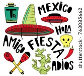 mexican cartoon elements and... | Shutterstock .eps vector #763085662