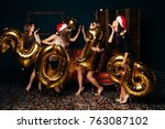 group of beautiful young girls... | Shutterstock . vector #763087102