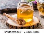 Jar Of Honey With Honey Dipper...