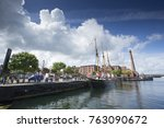 daytime view of canning dock... | Shutterstock . vector #763090672