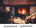 warm cozy fireplace with real... | Shutterstock . vector #763093432