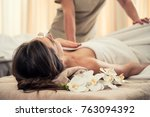 young woman relaxing on massage ... | Shutterstock . vector #763094392