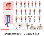 set of office man worker... | Shutterstock .eps vector #763095415