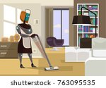 housewife robot cleaning house. ... | Shutterstock .eps vector #763095535