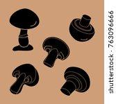 champignons black beautiful | Shutterstock .eps vector #763096666