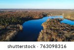 an aerial view of lake... | Shutterstock . vector #763098316