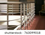 Shiny chrome metal fencing and railings in a hotel interior