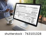 time for taxes planning money... | Shutterstock . vector #763101328