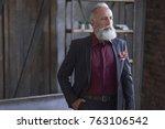 portrait of serious elegant... | Shutterstock . vector #763106542