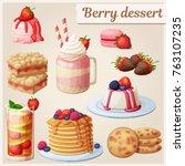 strawberry dessert collection.... | Shutterstock .eps vector #763107235