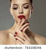 beautiful model girl with red... | Shutterstock . vector #763108246