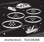 sea fish farm   vector... | Shutterstock .eps vector #763108288