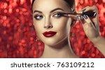 makeup artist applies mascara... | Shutterstock . vector #763109212