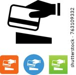 hand swiping a credit card icon   Shutterstock .eps vector #763109332