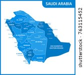 the detailed map of the saudi... | Shutterstock .eps vector #763115452