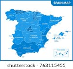 the detailed map of the spain... | Shutterstock .eps vector #763115455