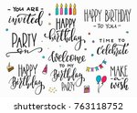 happy birthday party lettering... | Shutterstock .eps vector #763118752